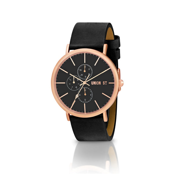 Union St Callum Black Dial and Black Strap Watch