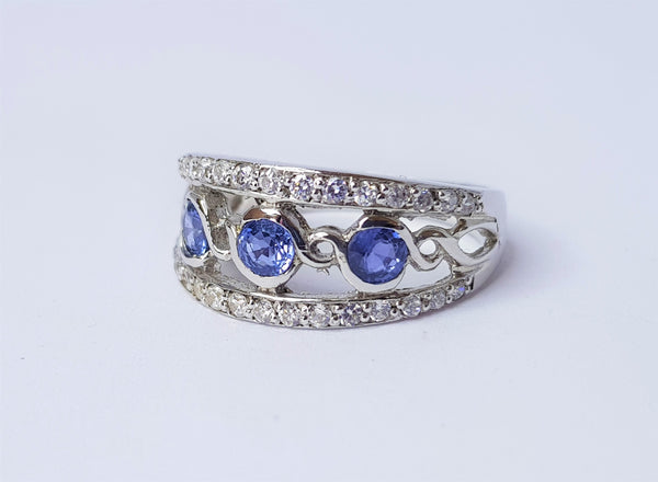 Sapphire & CZ Split Band Sterling Silver Ring