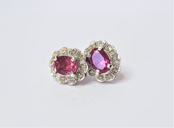 18ct White Gold Pink Tourmaline and Diamond Cluster Studs
