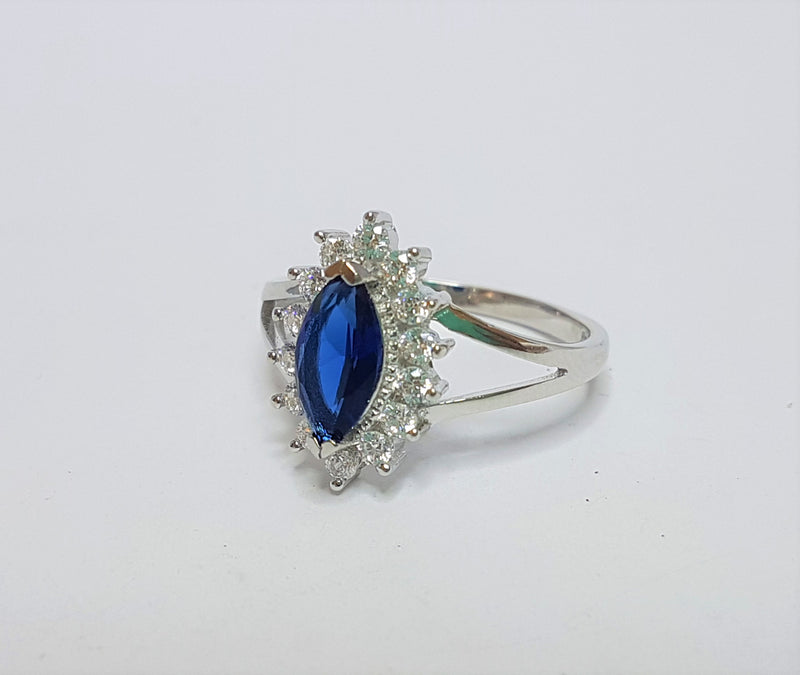 Marquise Blue CZ and CZ Halo Sterling Silver Ring