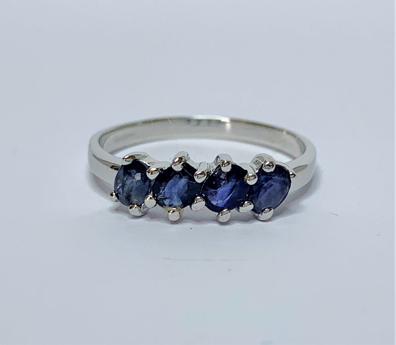 Oval Sapphires Diagonally Set Sterling Silver Ring