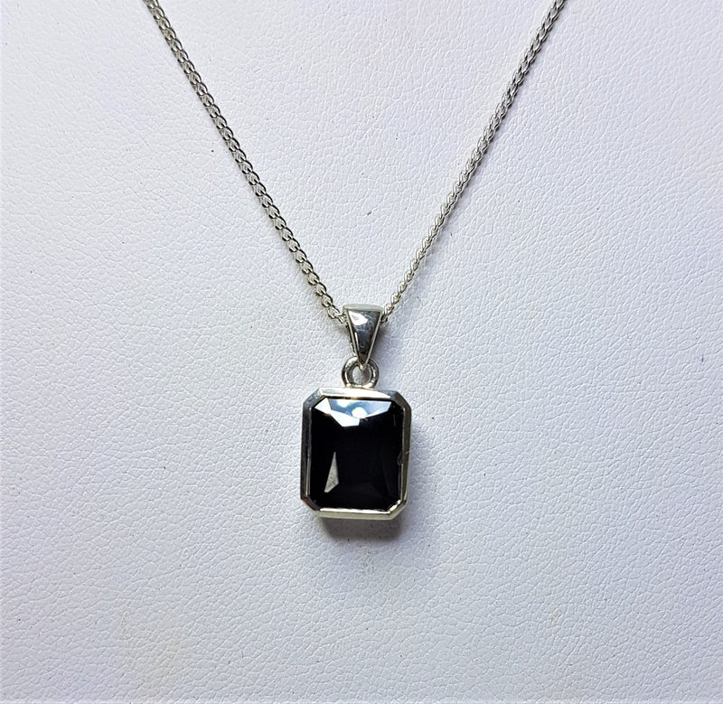 Black Emerald Cut Cubic Zirconia Sterling Silver Pendant