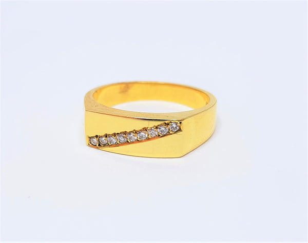 18ct Yellow Gold Diamond Diagonally Set Ring