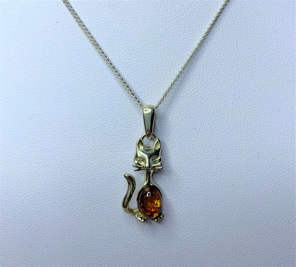 Amber Cat Sterling Silver Pendant