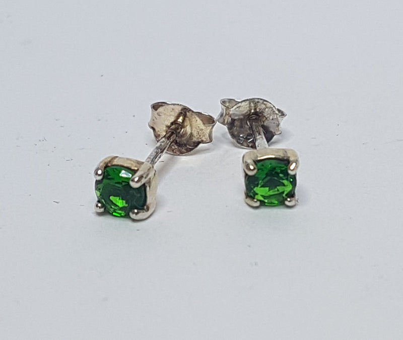 May Emerald CZ Birthstone Sterling Silver Earrings