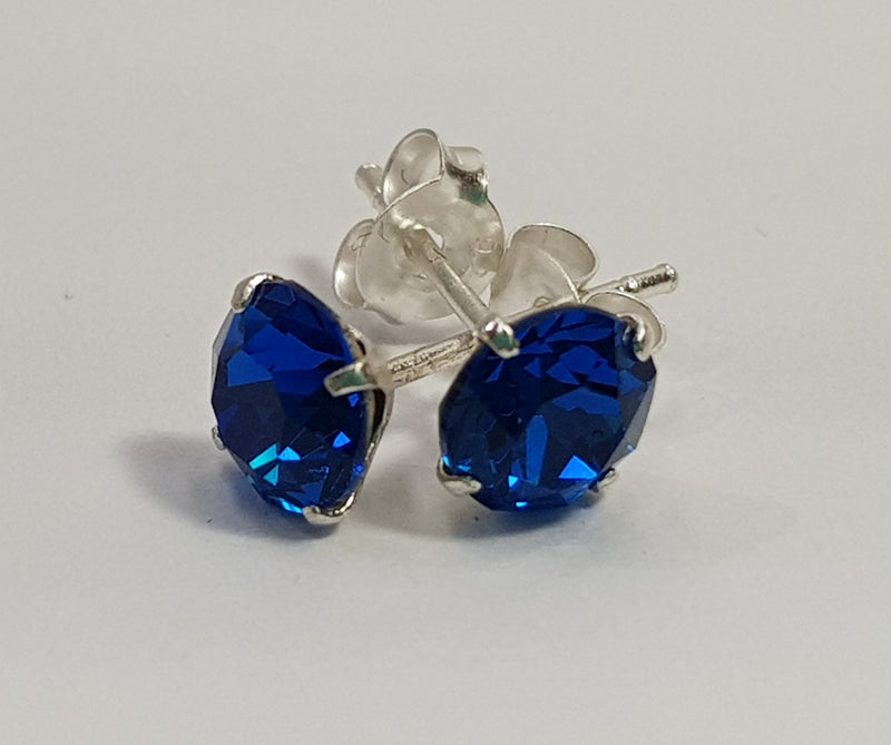 Round Capri Blue Sterling Silver Studs