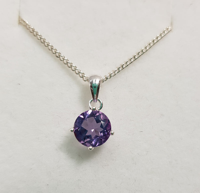 7mm Brilliant Cut Amethyst Sterling Silver Pendant