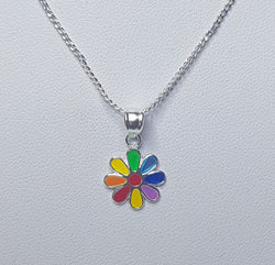 Coloured Flower Sterling Silver Pendant