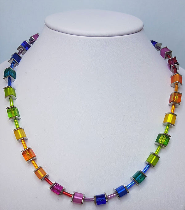Rainbow Geo-Cube Glass Swarovski Pink Blue Orange Necklace