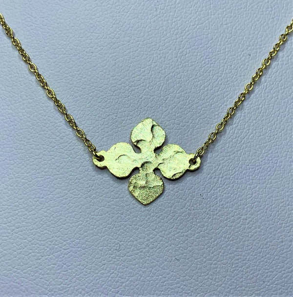 Yellow Gold Plate Pressed Flower Sterling Silver Necklet