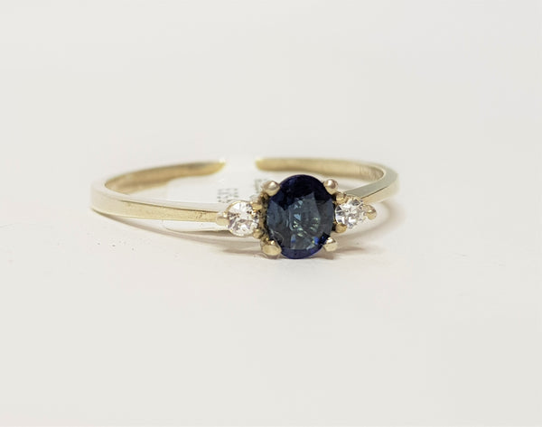 Oval Sapphire and CZ Sterling Silver Ring