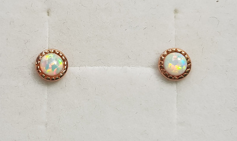 Fire Snow Opal (Syn) Rose Gold Plate Studs