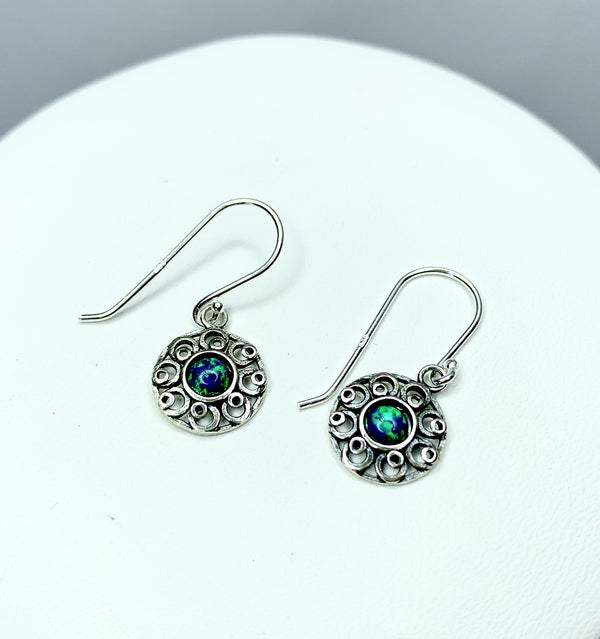 Silver Flower Earrings with Opal (Syn)