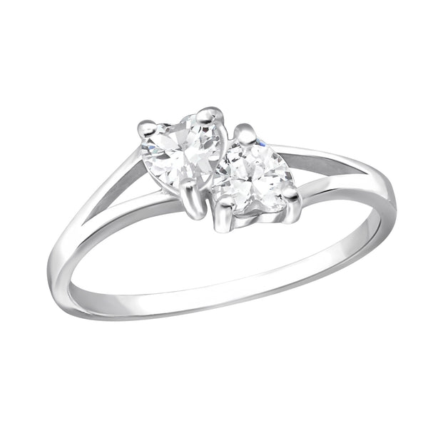 Double Heart Crystal Cubic Zirconia Sterling Silver Ring