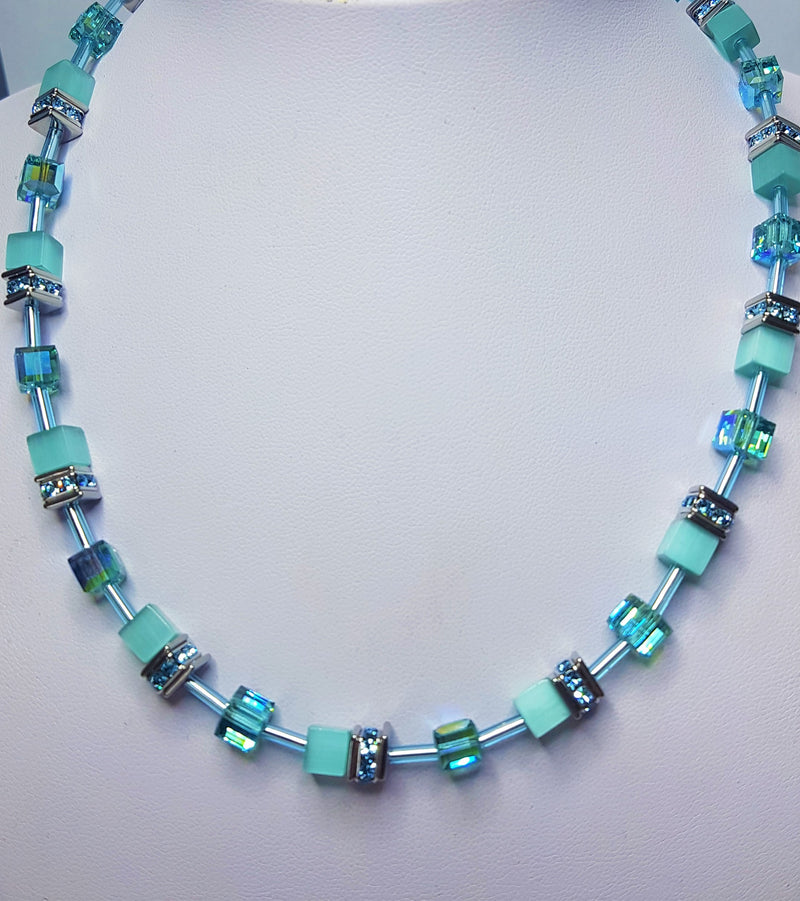 Aqua Geo-Cube Necklace