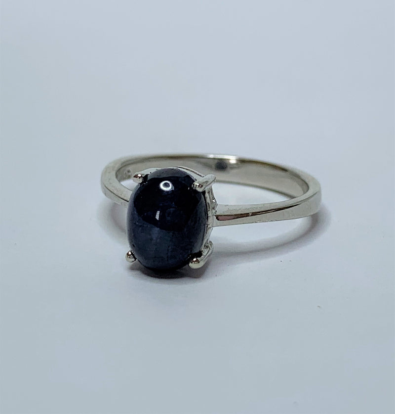 Oval Sapphire Cabochon Sterling Silver Ring