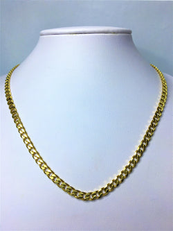 9ct Yellow Gold Diamond Cut Curb 50cm Chain