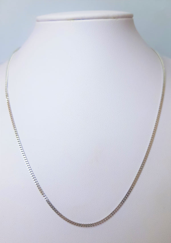 18ct White Gold Diamond Cut Curb Chain
