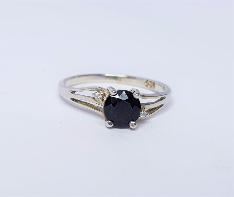 Round Sapphire and CZ Sterling Silver Ring