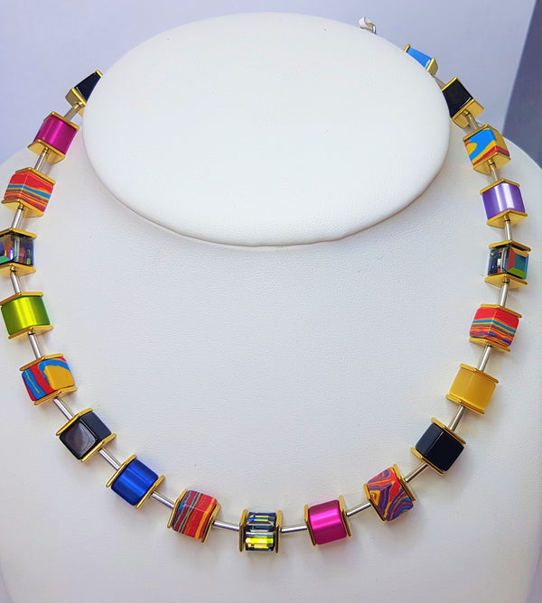 Vivid Large GeoCube Swarovski Coloured Necklet
