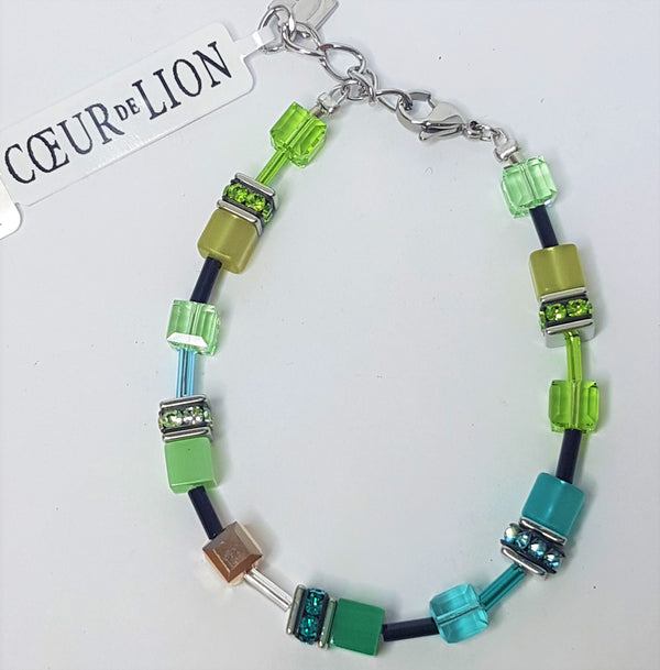 Green Geo-Cube with Rhinestone, Glass, Synthetic Tigers Eye, Polaris and Swarovski Crystals Bracelet