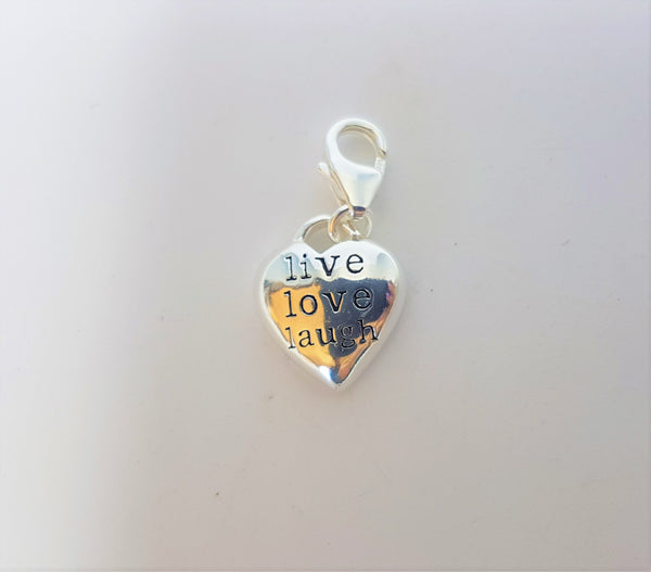 'Live Laugh Love' Heart Sterling Silver Charm