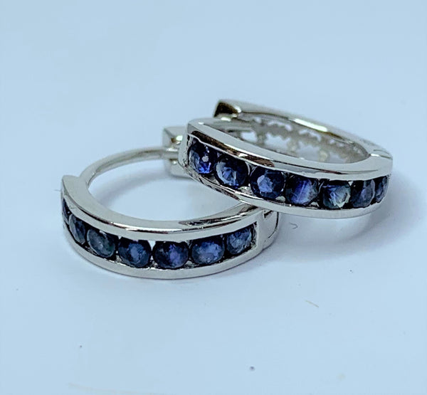Sapphire Set Sterling Silver Hoops