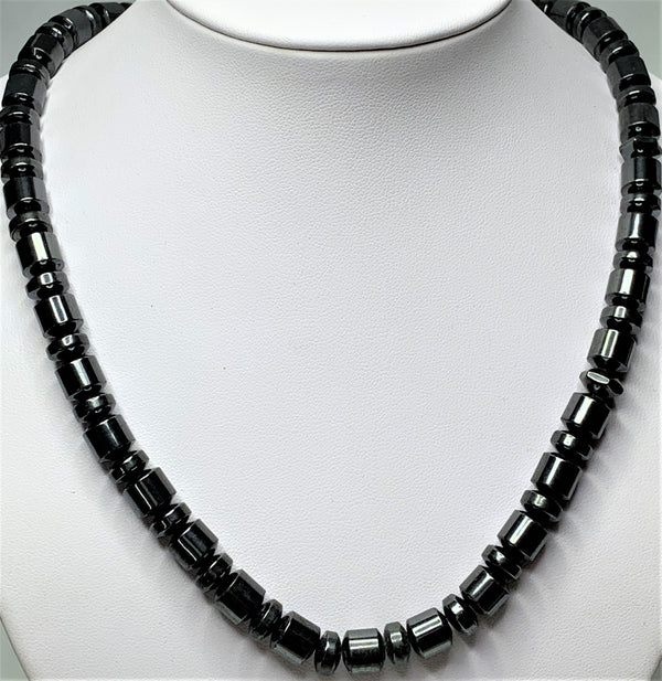 Hematite Cylinder and Disc Necklace