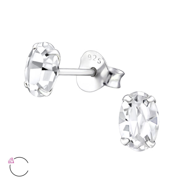 Crystal Claw Set Sterling Silver Studs