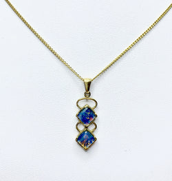 Square Opals 9ct Yellow Gold Pendant