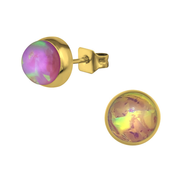Pink Opal Rose Gold Plate Round Stnless Steel Studs