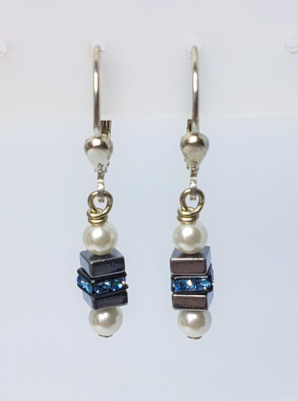 Haematite with Titanium Oxide and Swarovski Crystal & Pearl Crystal French Drops