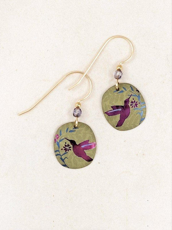 Hummingbird Nectar Sage/Purple Drop Earrings