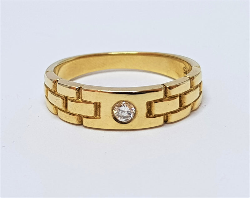 9ct Yellow Gold Diamond Gents Dress Ring