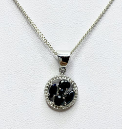 Sapphire Cluster Round Sterling Silver Pendant