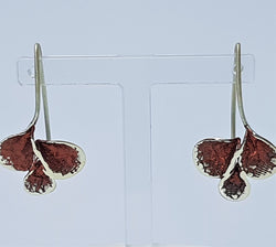 Red Powdered Enamel Petal Design Sterling Silver Earrings