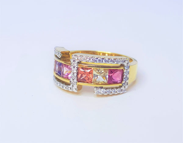 9ct Yellow Gold Multicoloured Sapphire and Diamond Ring