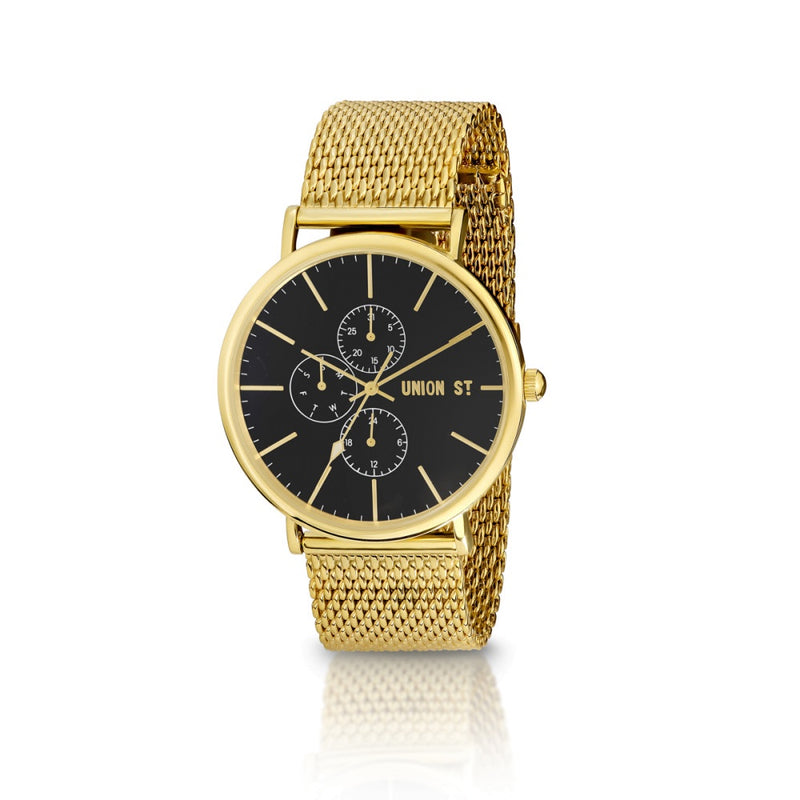 Union St Ethan Black Dial with Goldtone Mesh Watch