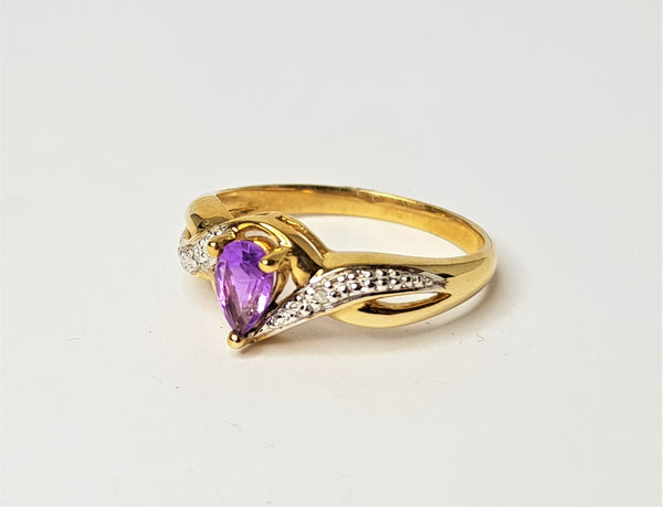 9ct Yellow Gold Teardrop Amethyst and Diamond Crossover Ring
