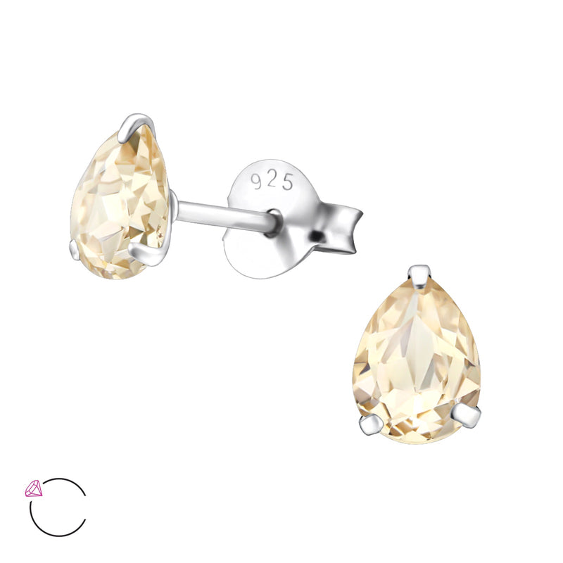 Light Silk Crystal Pear Sterling Silver Studs