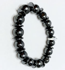 Hematite Ball and Disc Link Bracelet