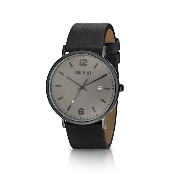 Union St Joshua Grey Dial and Black Strap Watch
