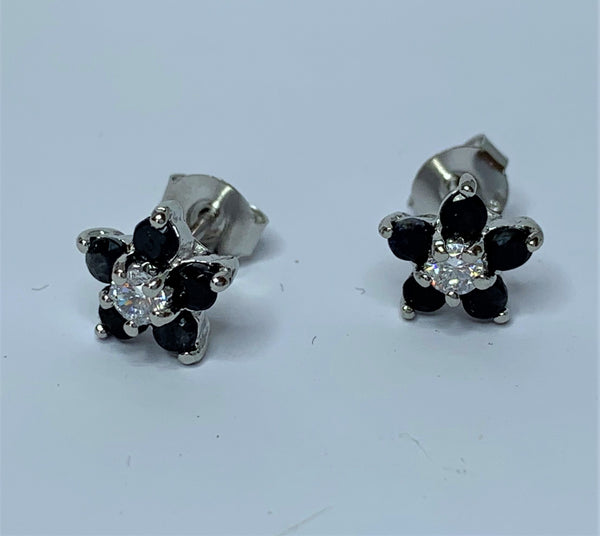 Sapphire and CZ Flower Sterling Silver Studs