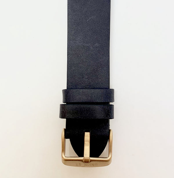 Union St Navy Retro Leather Strap