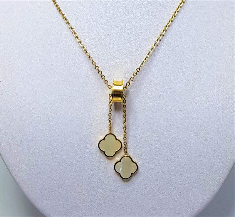 Pearl (Syn) Flower Design Drop Yellow Gold Plate Necklace