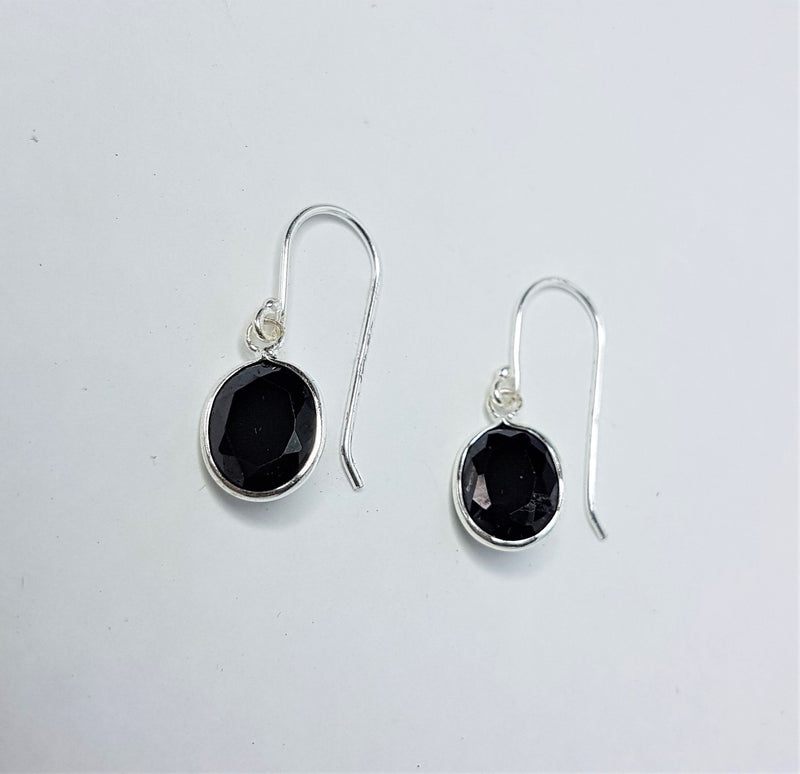 Black Cubic Zirconia Sterling Silver Drop Hooks