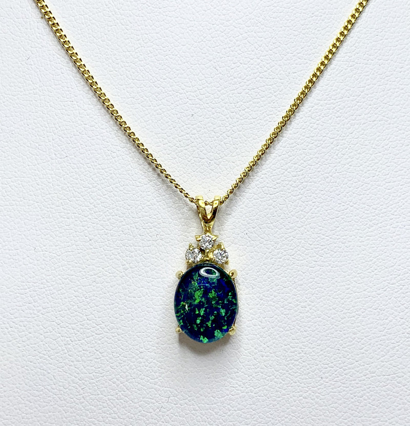 Oval Opal Gold Plated Pendant With 3x Cubic Zirconia