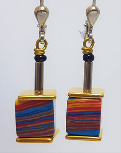 Vivid Striped GeoCube French Drop Earrings