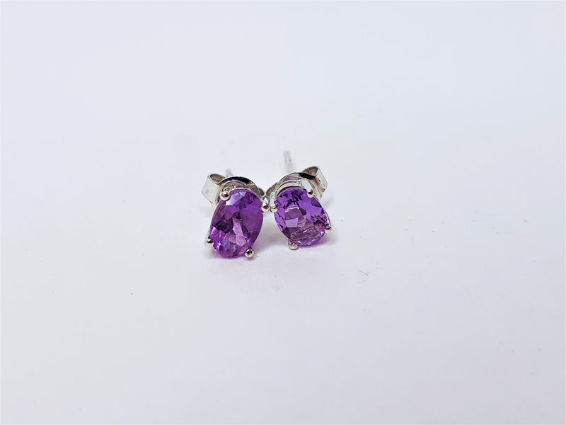 9ct White Gold Oval Amethyst Studs