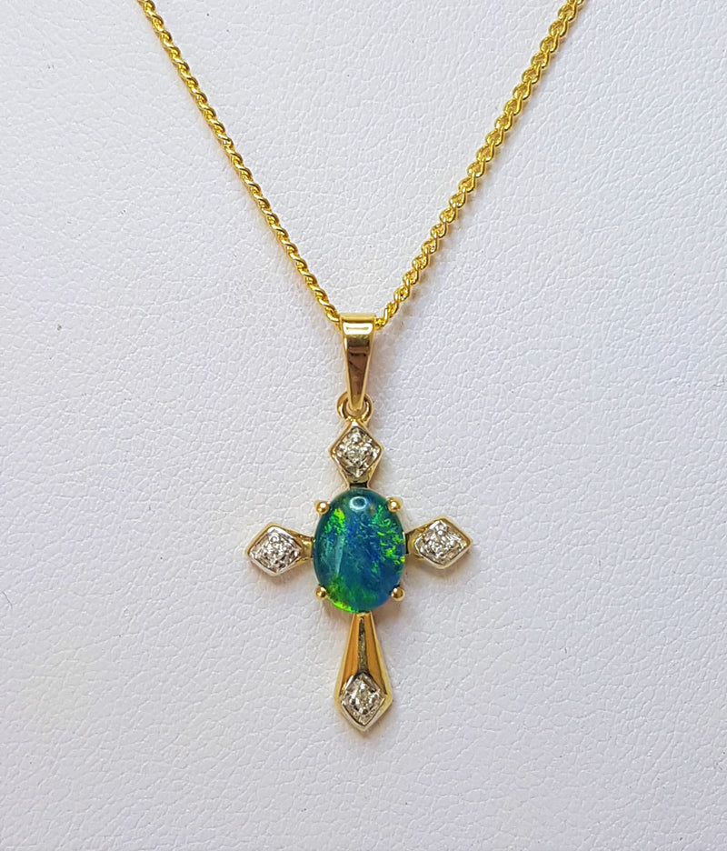 Oval Opal Triplet and Diamond Cross 9ct Yellow Gold Pendant